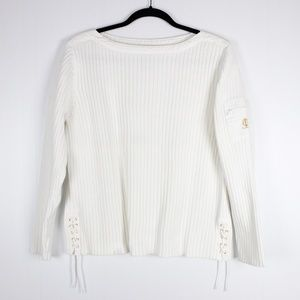 LRL Large White Ribbed Long Sleeve Top Gold